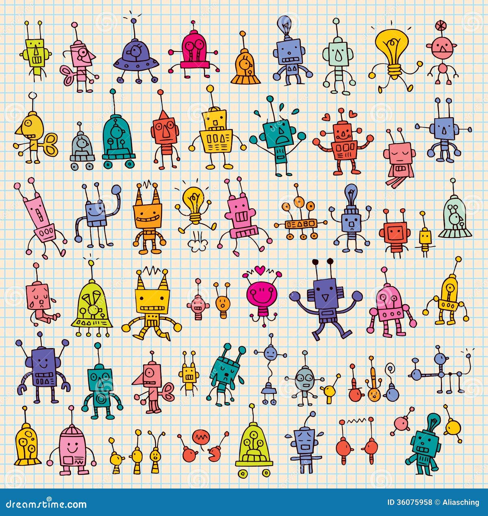 Cute Cartoon Robots Se...