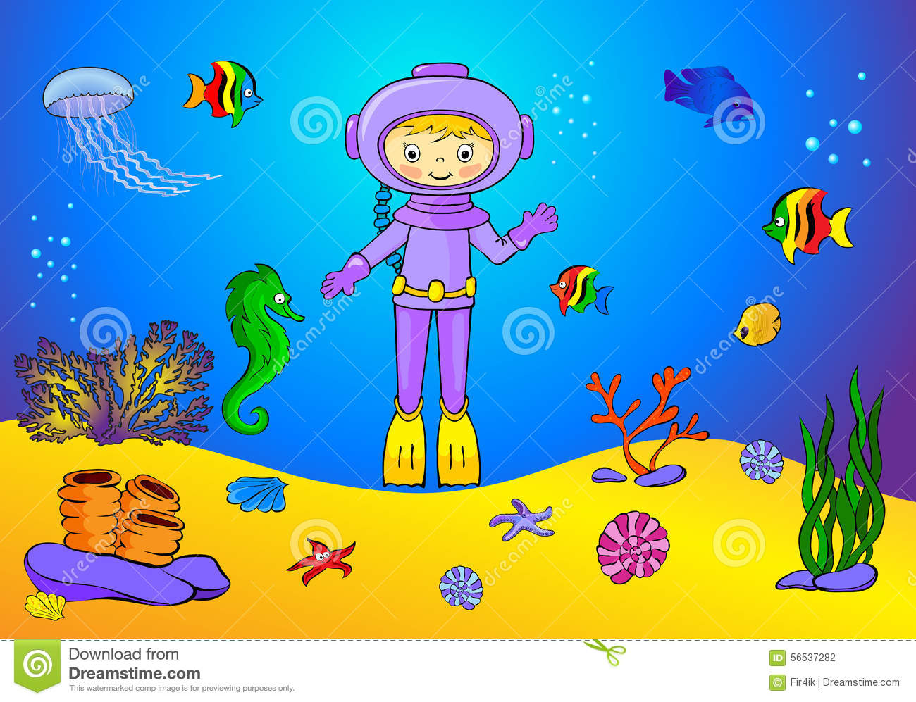 Cute cartoon scuba diver and fish under water. Seahorse, jellyfish, coral and starfish on the ocean floor.