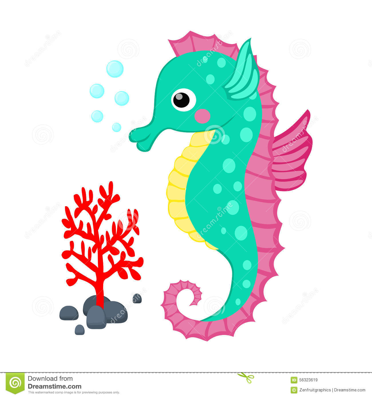 Cute Cartoon Seahorse And Red Coral Branch Vector Illustration ...