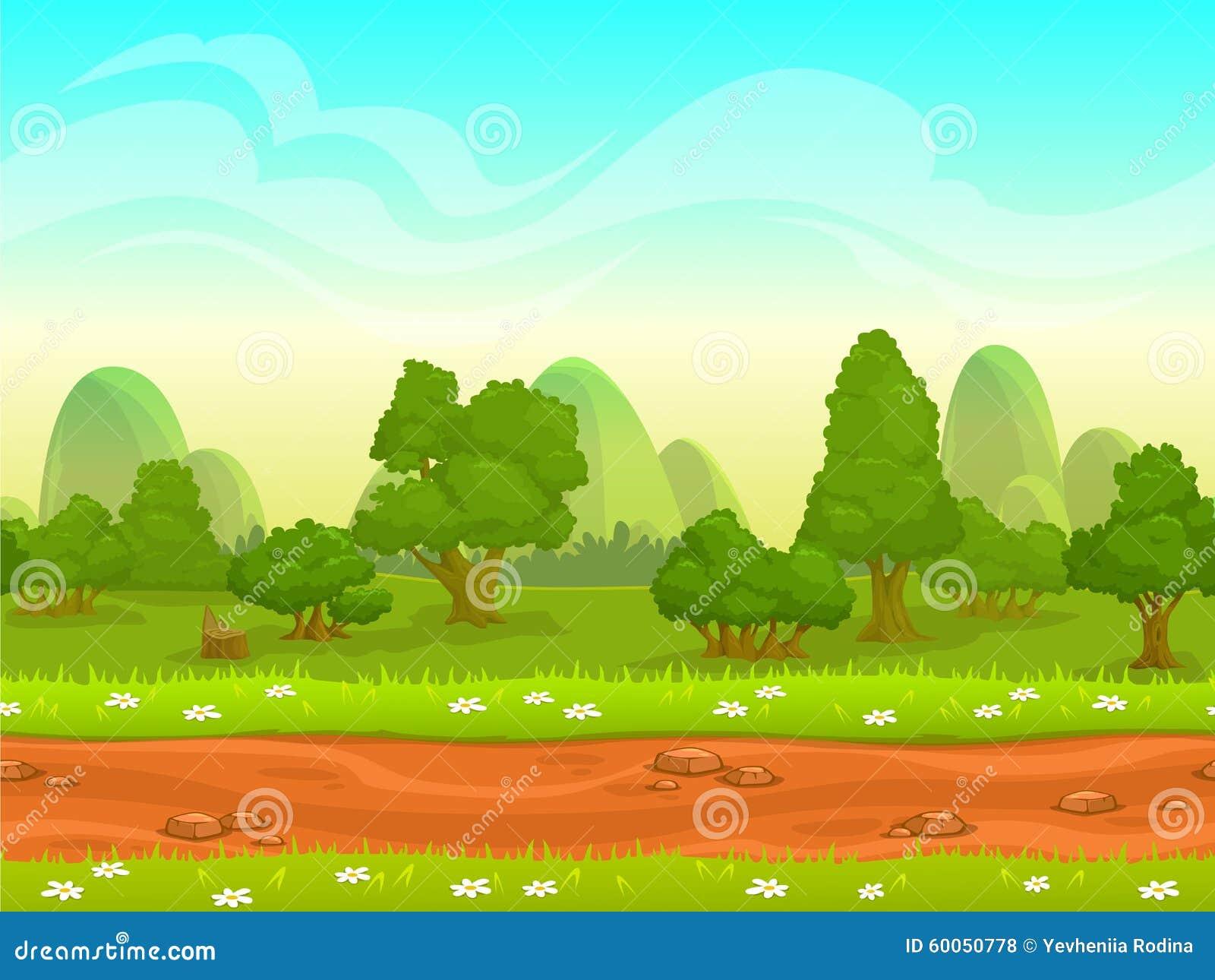 Cute Cartoon Seamless Landscape Stock Illustration Image