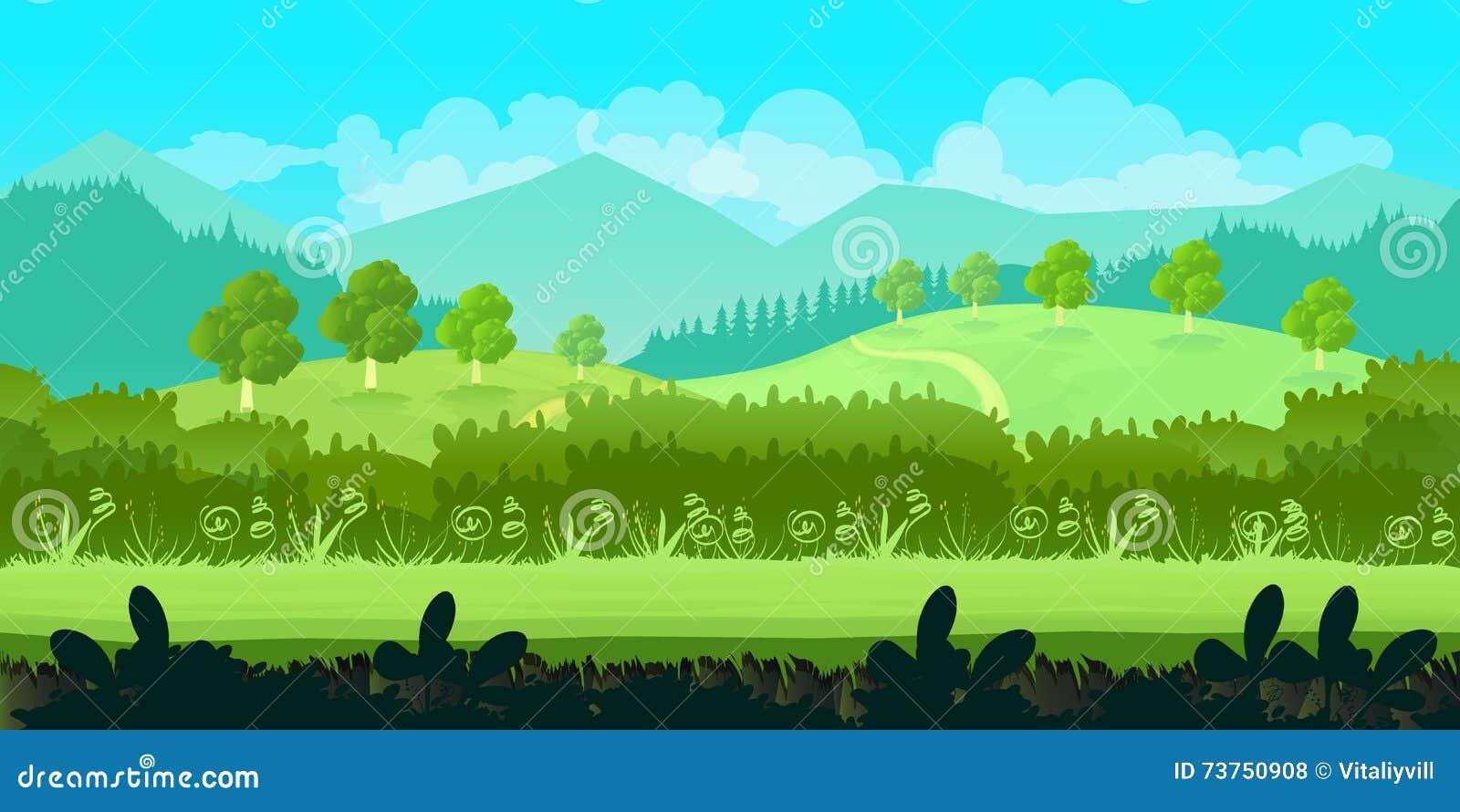 cartoon summer landscape cartoon vector