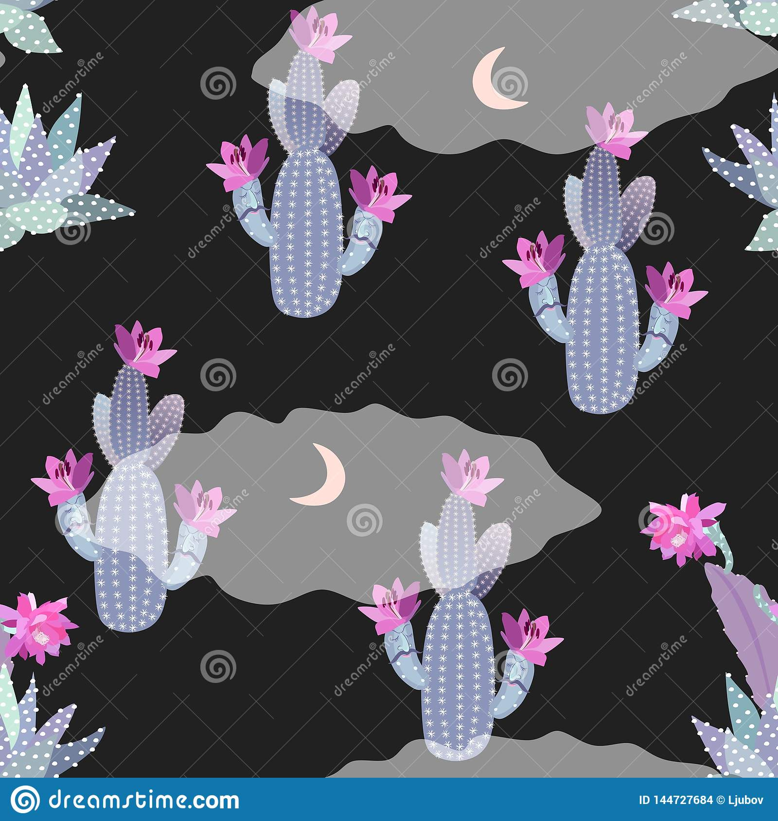 Cute Cartoon Seamless Pattern With Blooming Cacti And Succulents Moon And Clouds Funny Night Landscape Desert Landscape Print Stock Vector Illustration Of Funny Pink 144727684