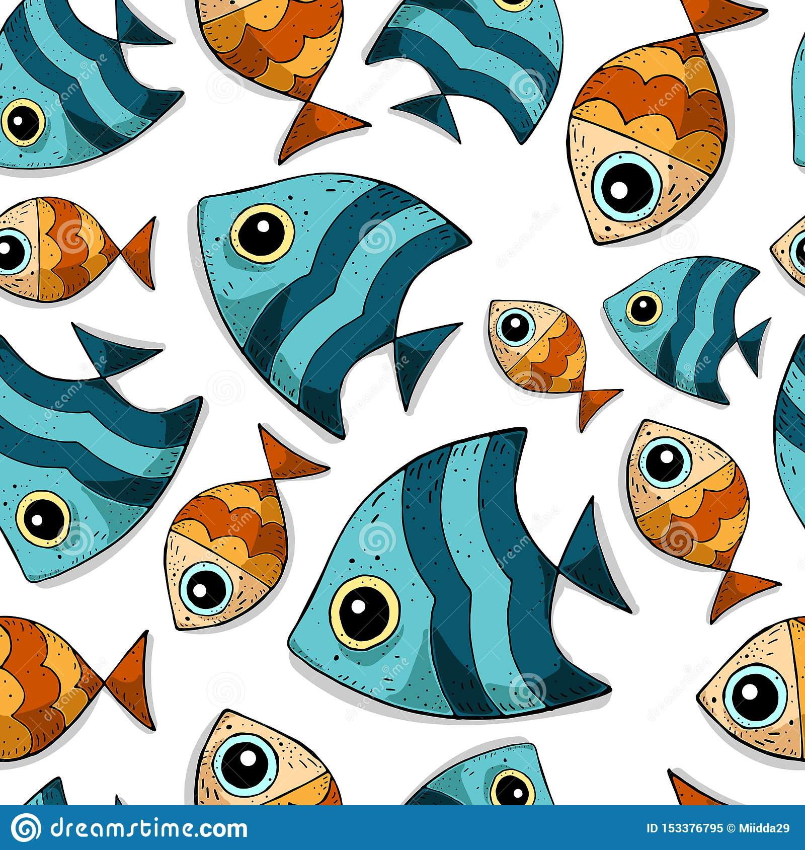 Cute cartoon seamless vector pattern with colored sea fishes.