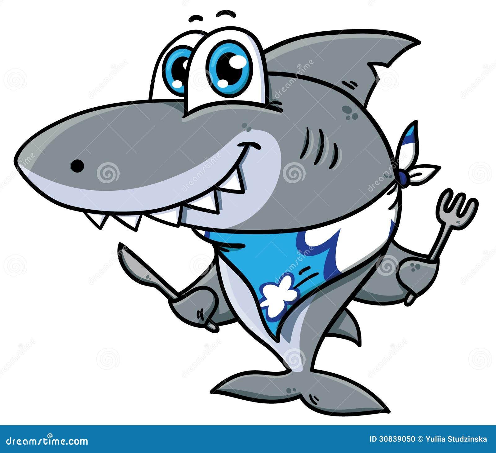 Cute cartoon shark stock photo image 30839050