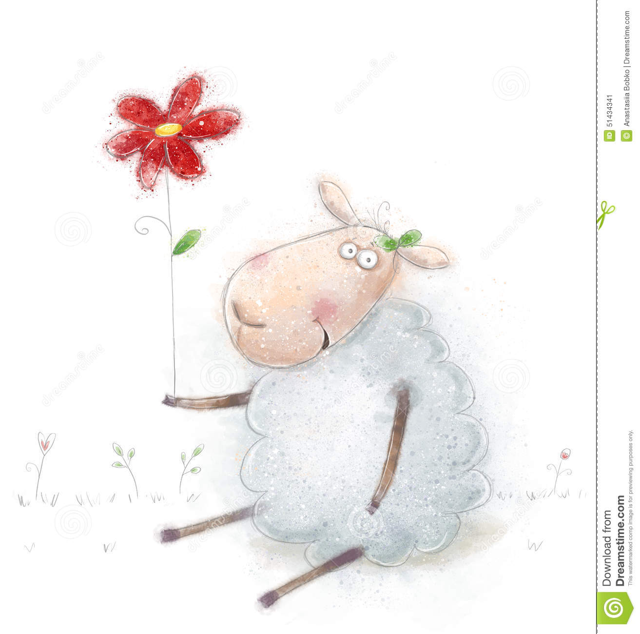 Cute Cartoon Sheep With The Red Flower Valentines Greeting Card