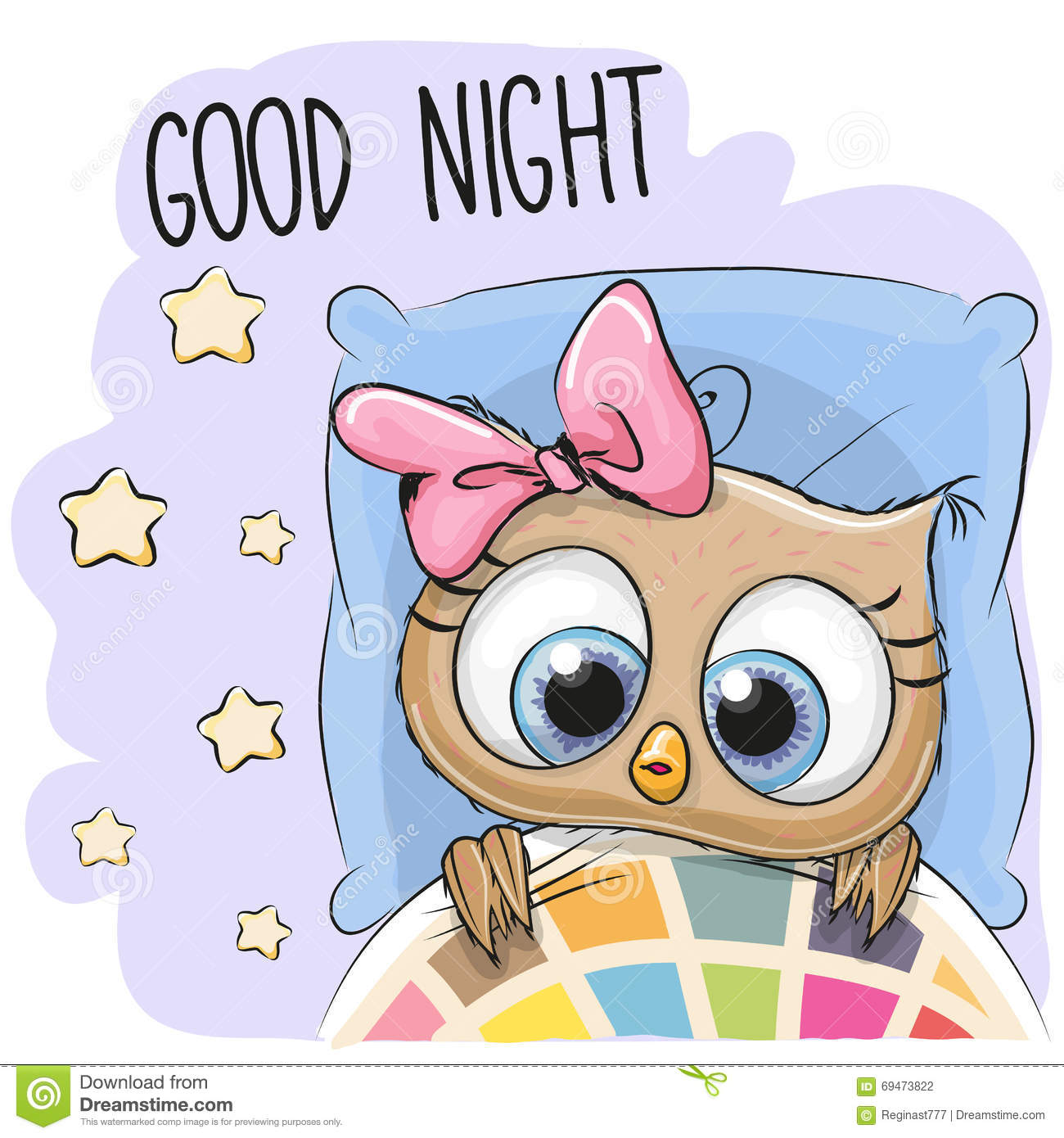 Cute Cartoon Sleeping Owl stock vector. Illustration of ...