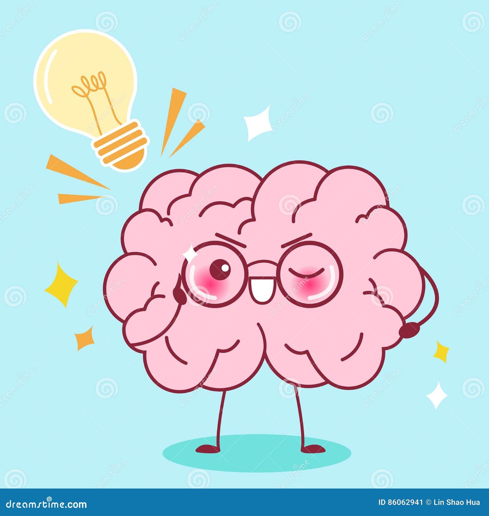 Cute cartoon smart brain stock vector. Illustration of ... for Smart Cartoon Brain  45jwn