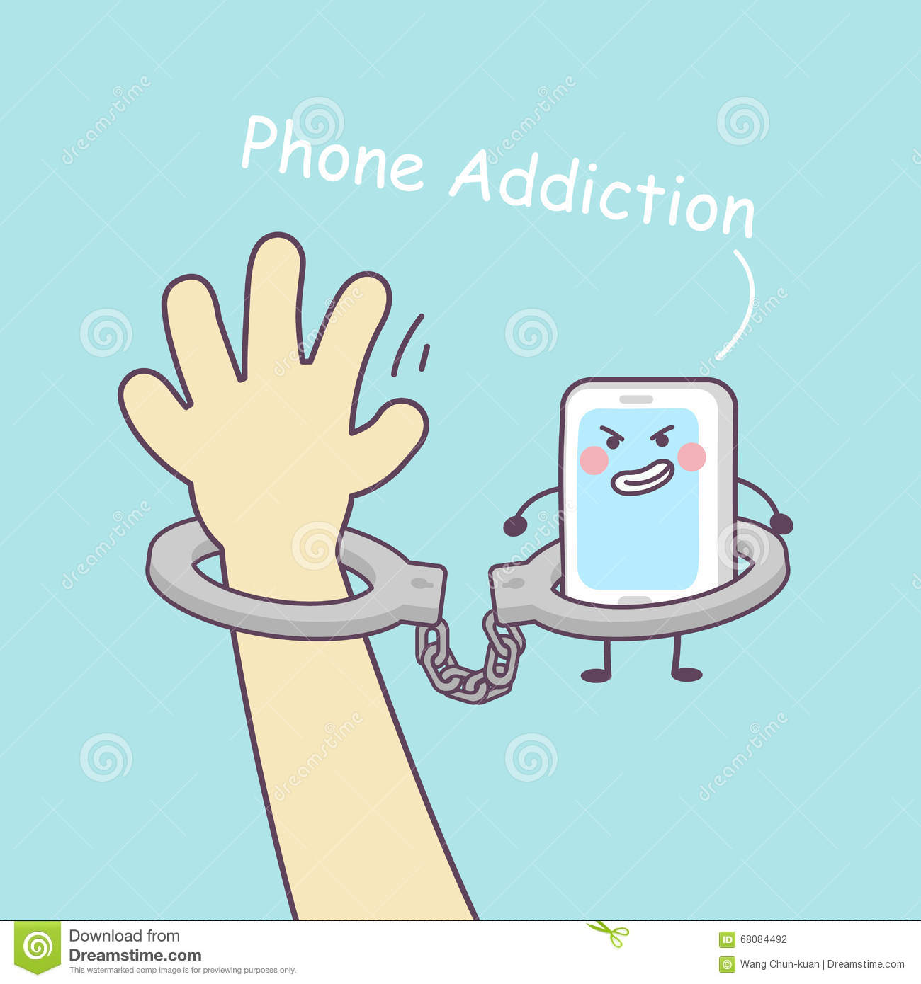 Cute Cartoon Smartphone With Handcuffs Stock Vector
