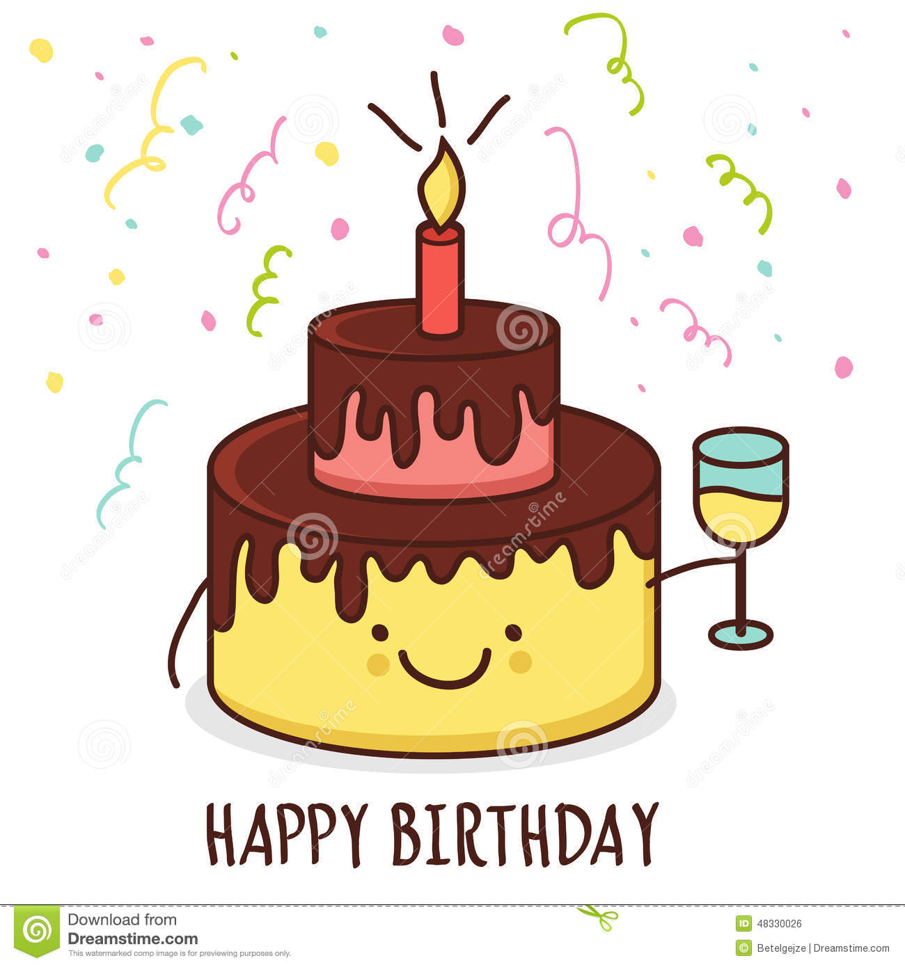 Birthday Cake Pictures Of Cartoon : Cute Cartoon Smiling Cake With Glass Of Champagne. Vector ...
