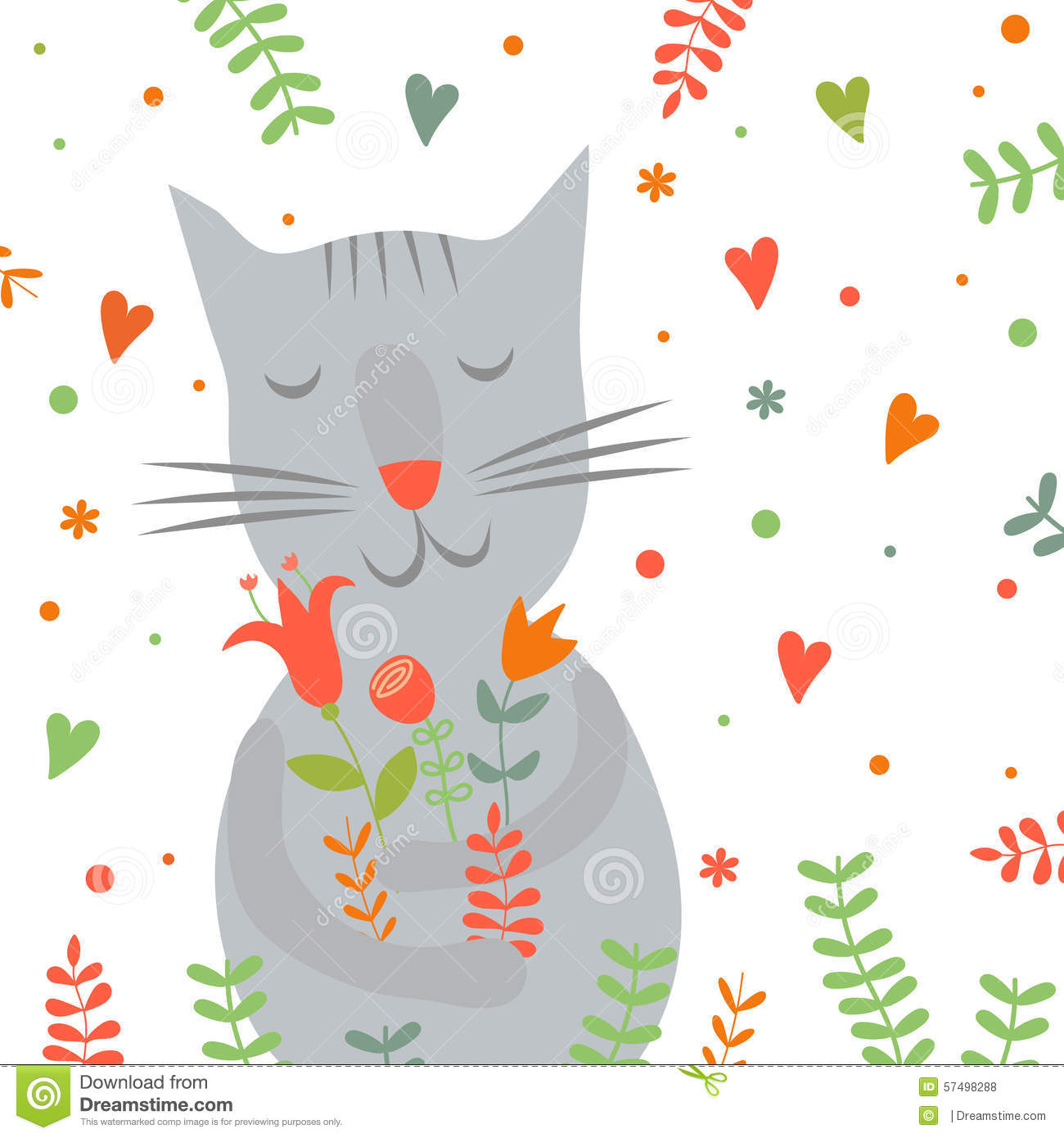Cute Cartoon Smiling Cat With Floral Print And Stock