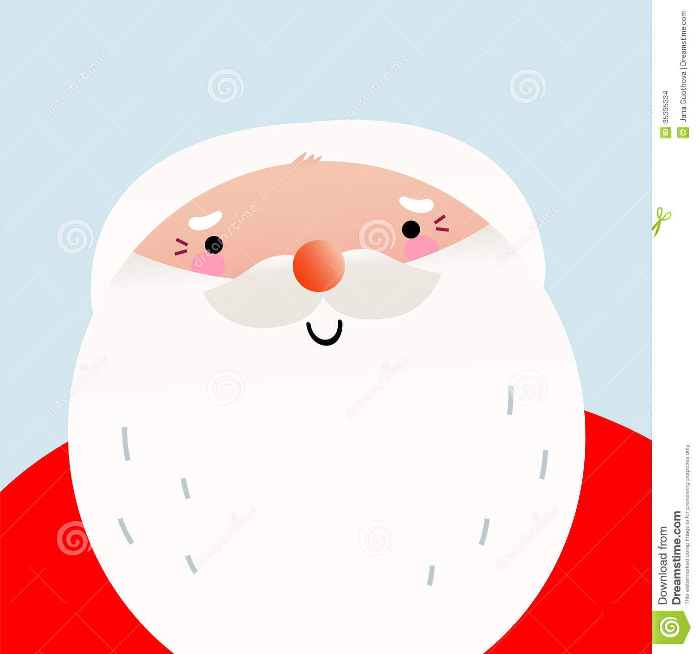 Cute Cartoon Smiling Santa Face Stock Vector ...