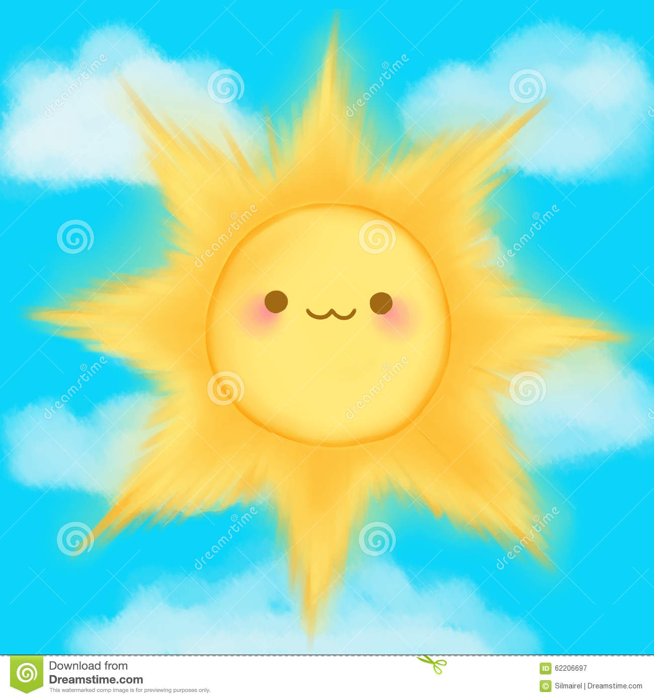 Cute Cartoon Smiling Sun Clouds Sky Kawaii Anime Manga Stock ...