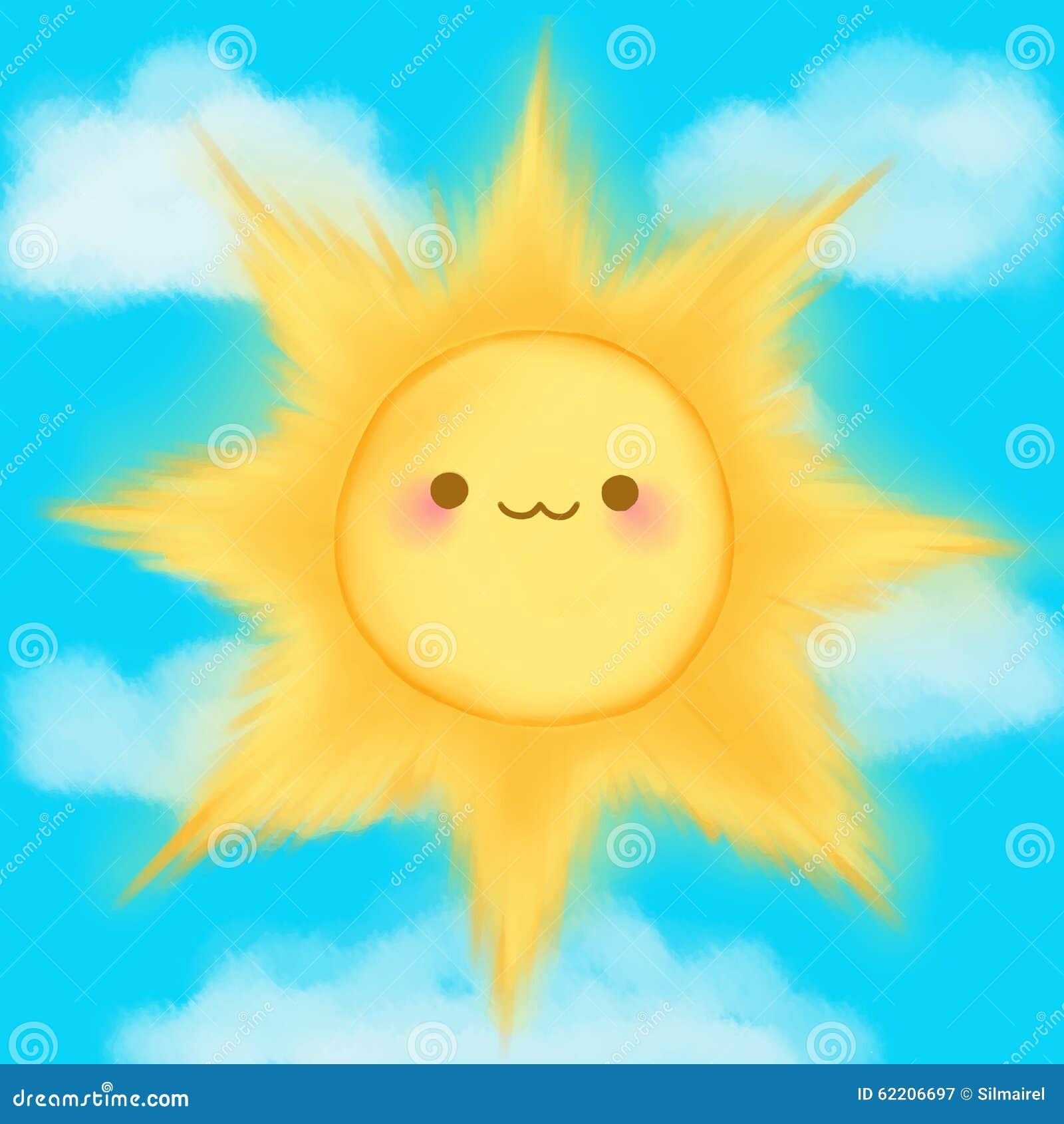 Cute Cartoon Smiling Sun Clouds Sky Kawaii Anime Manga Stock ...