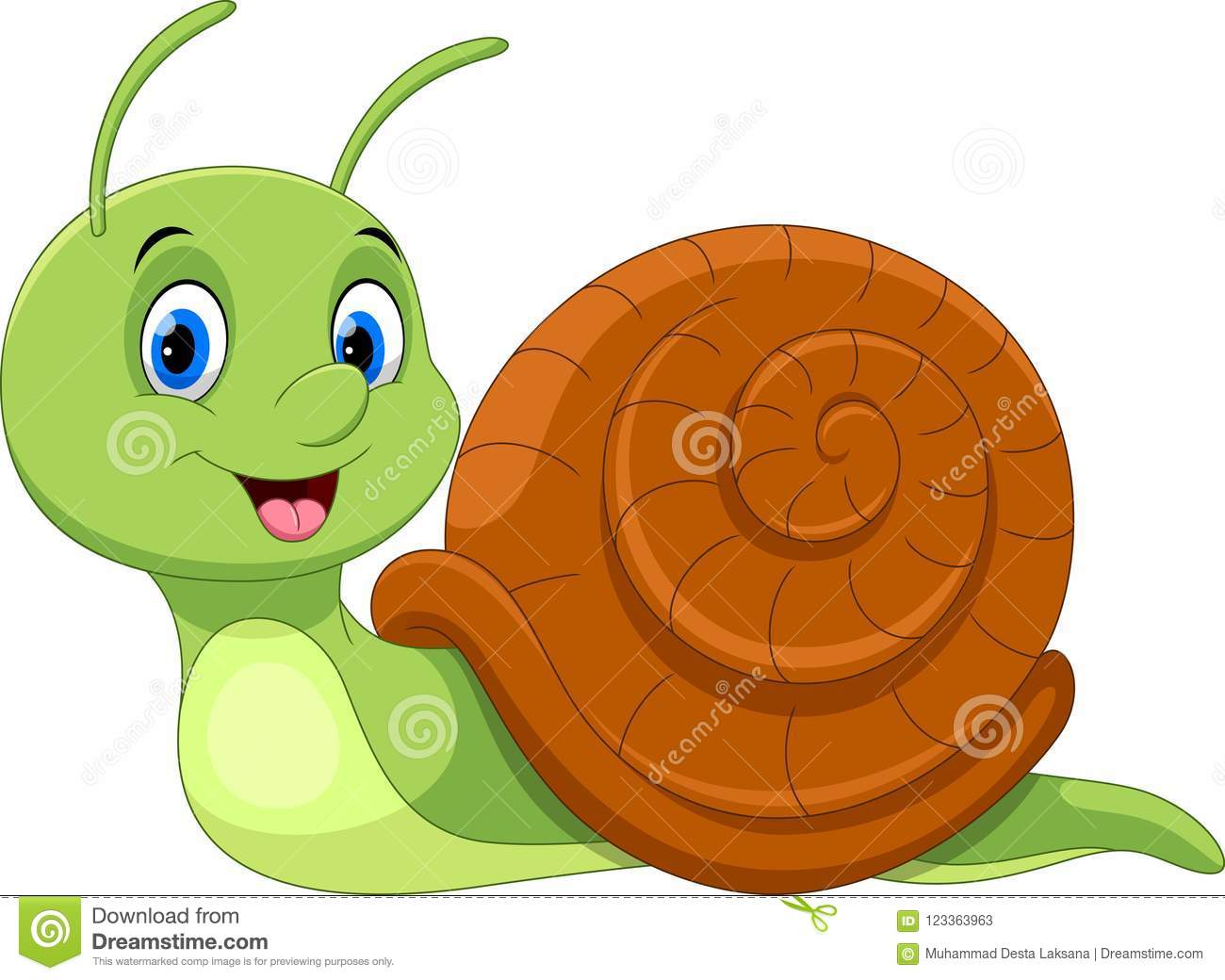 Cute Cartoon Snail. Funny And Adorable Stock Illustration