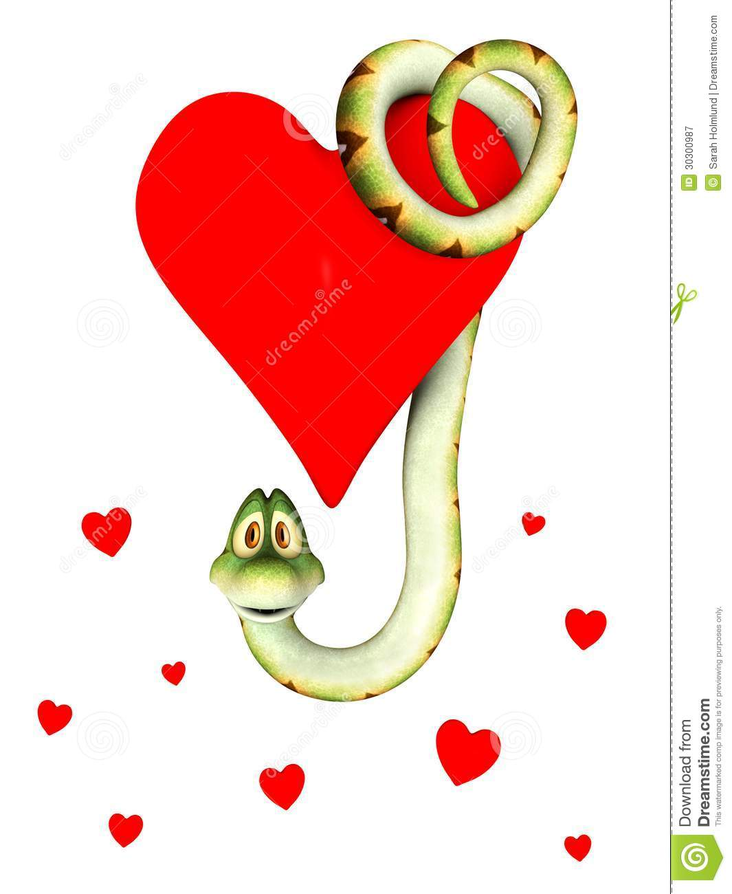cute cartoon snake hanging from a big red heart several small hearts ...