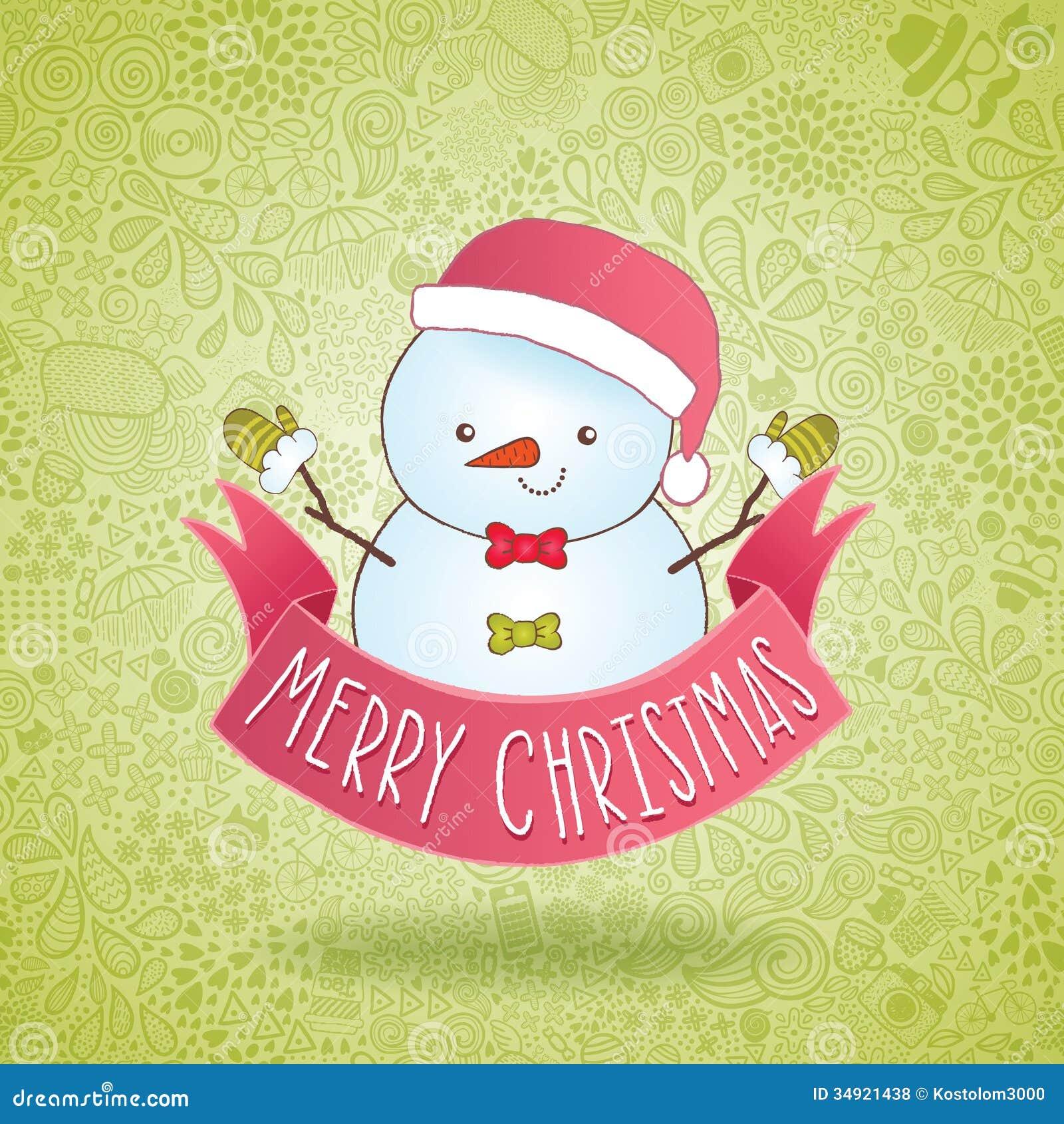 Cute cartoon snowman with christmas ribbon stock vector