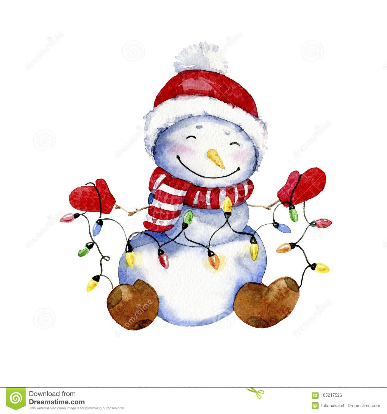 Watercolor Cartoon Illustration Smiling Snowman With Christmas