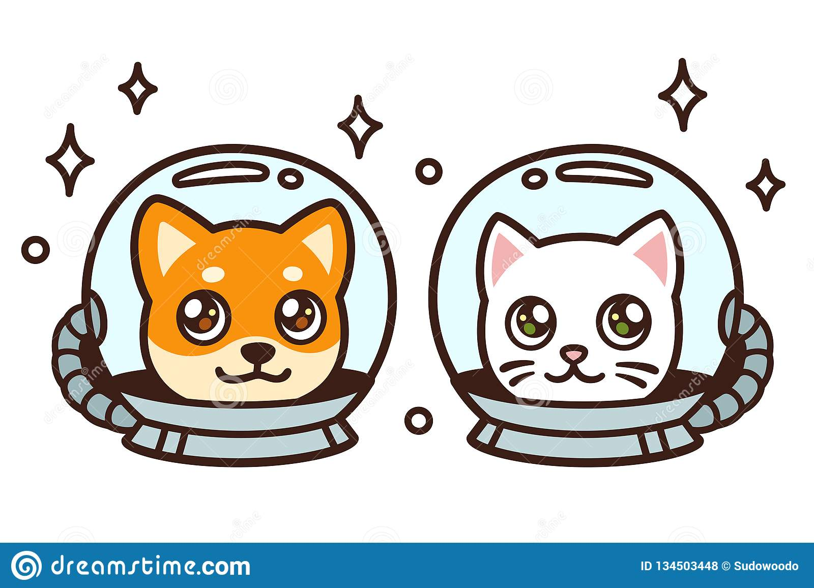 Cute Cartoon Space Cat And Dog Stock Vector , Illustration