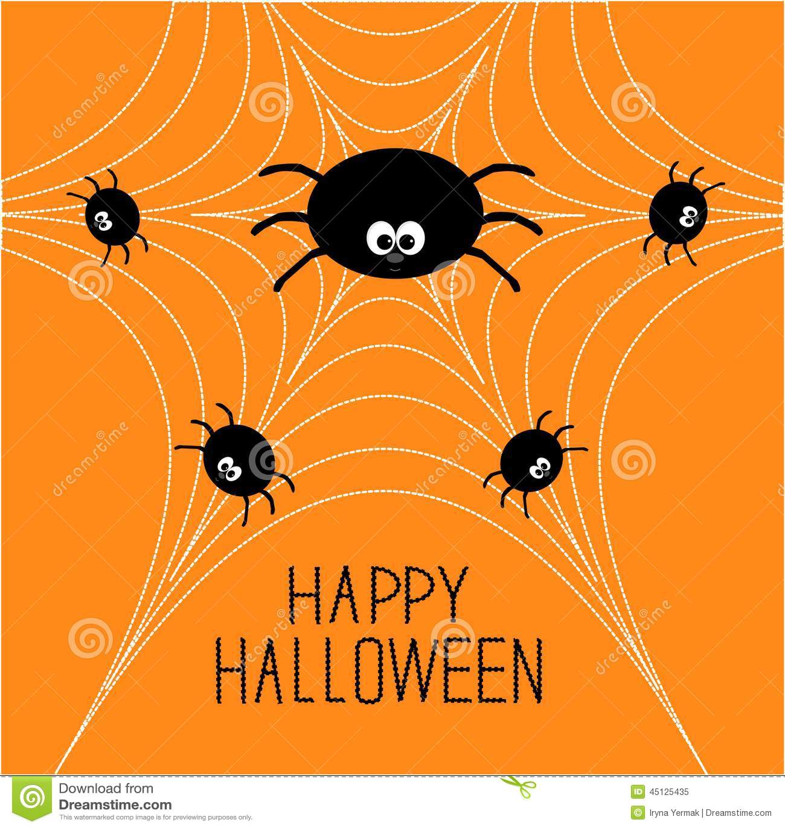 Vector Illustration Web Designs: Cute Cartoon Spider Family On The Web. Halloween Card