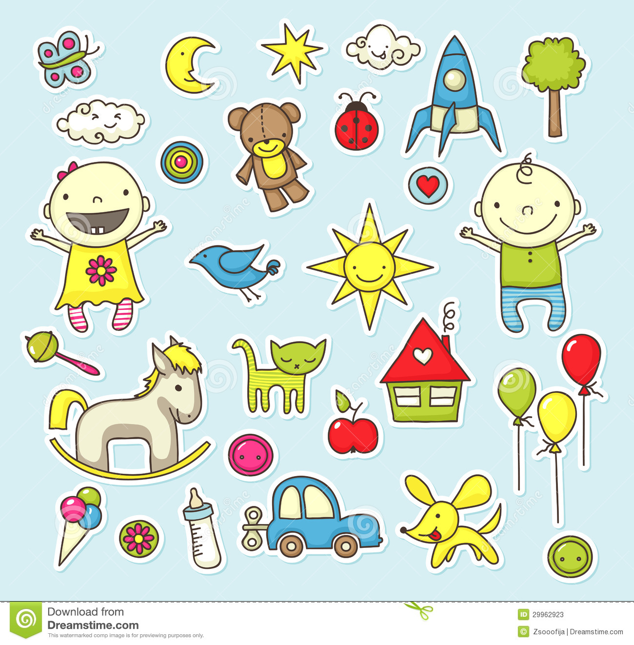 Baby stickers stock photos image 29962923 - Stickers muraux repositionnables bebe ...