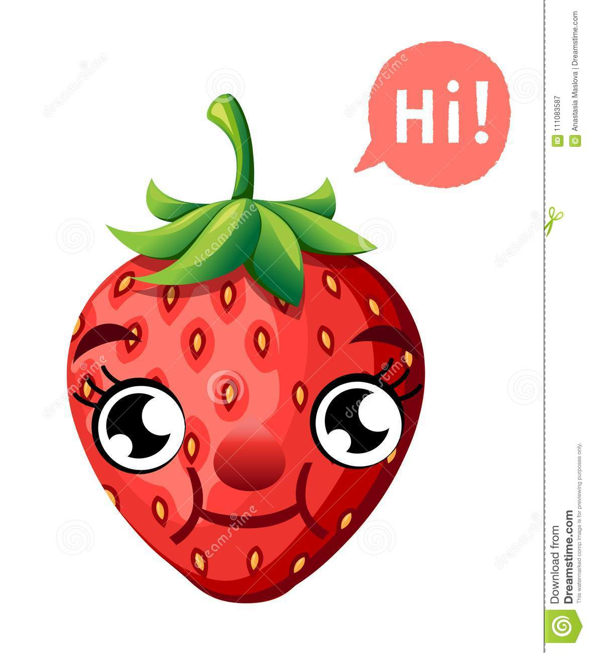 Cute cartoon strawberry smiling fruit with a caption cloud vector illustration isolated on white background web site page and mobi