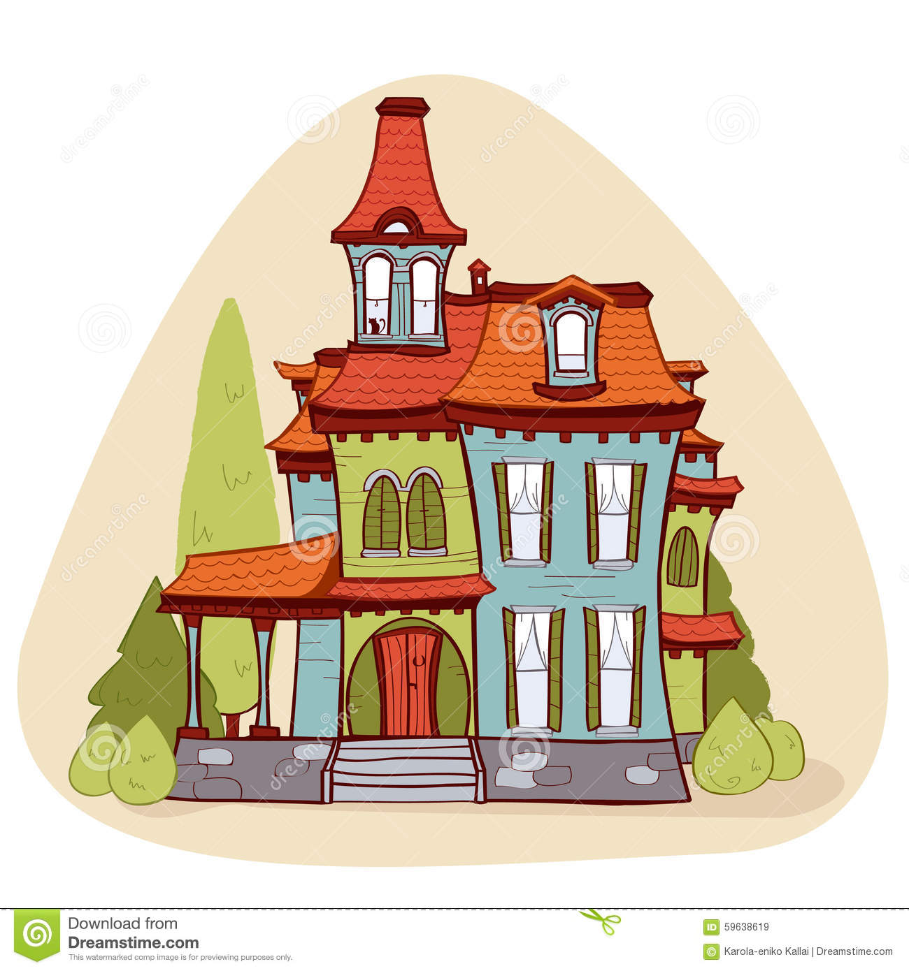 Victorian Cottage Plans Cute Cartoon Style House Stock Vector Image 59638619
