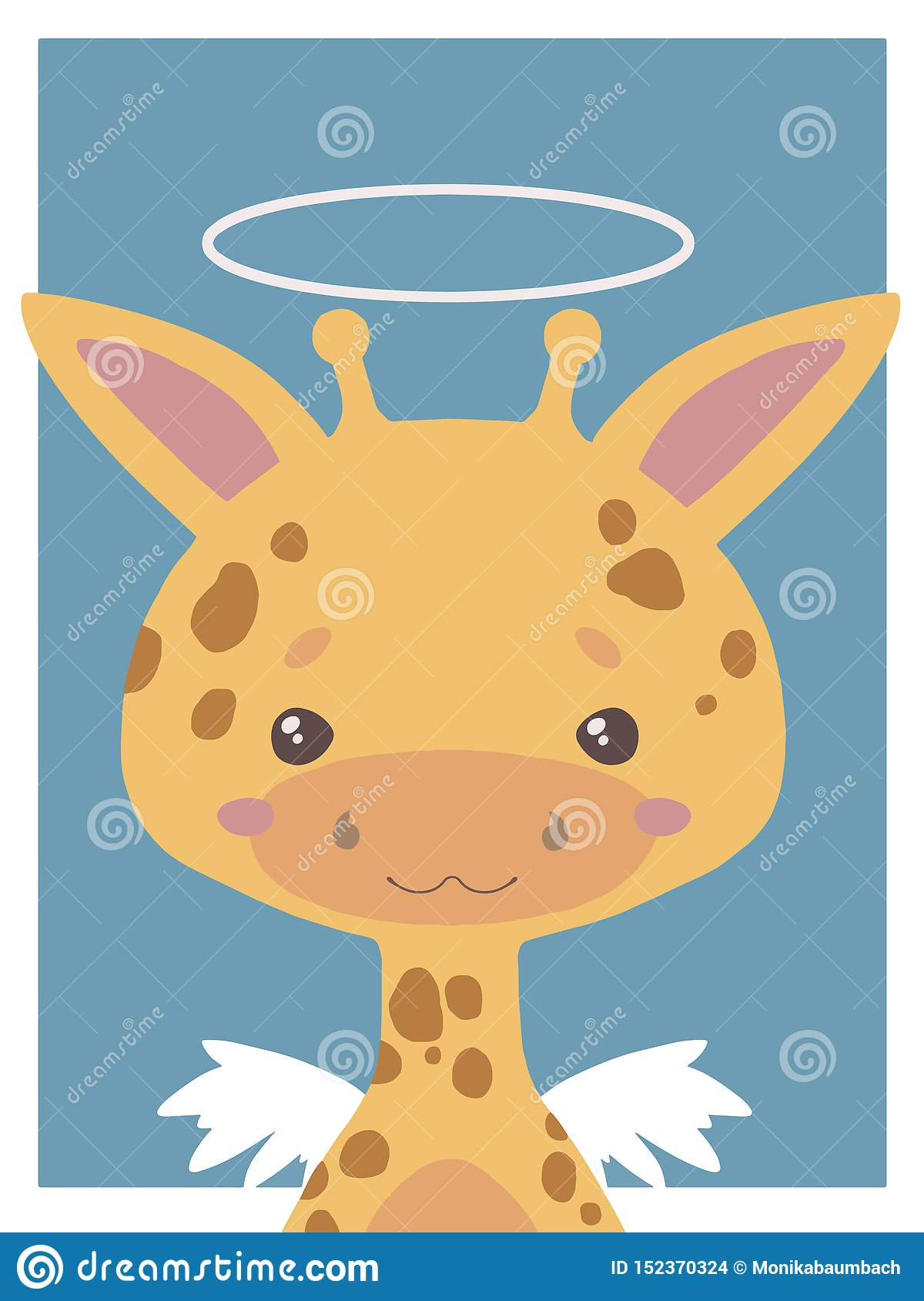 Cute cartoon style vector animal drawing of a guardian angel giraffe with halo and wings suitable for nursery