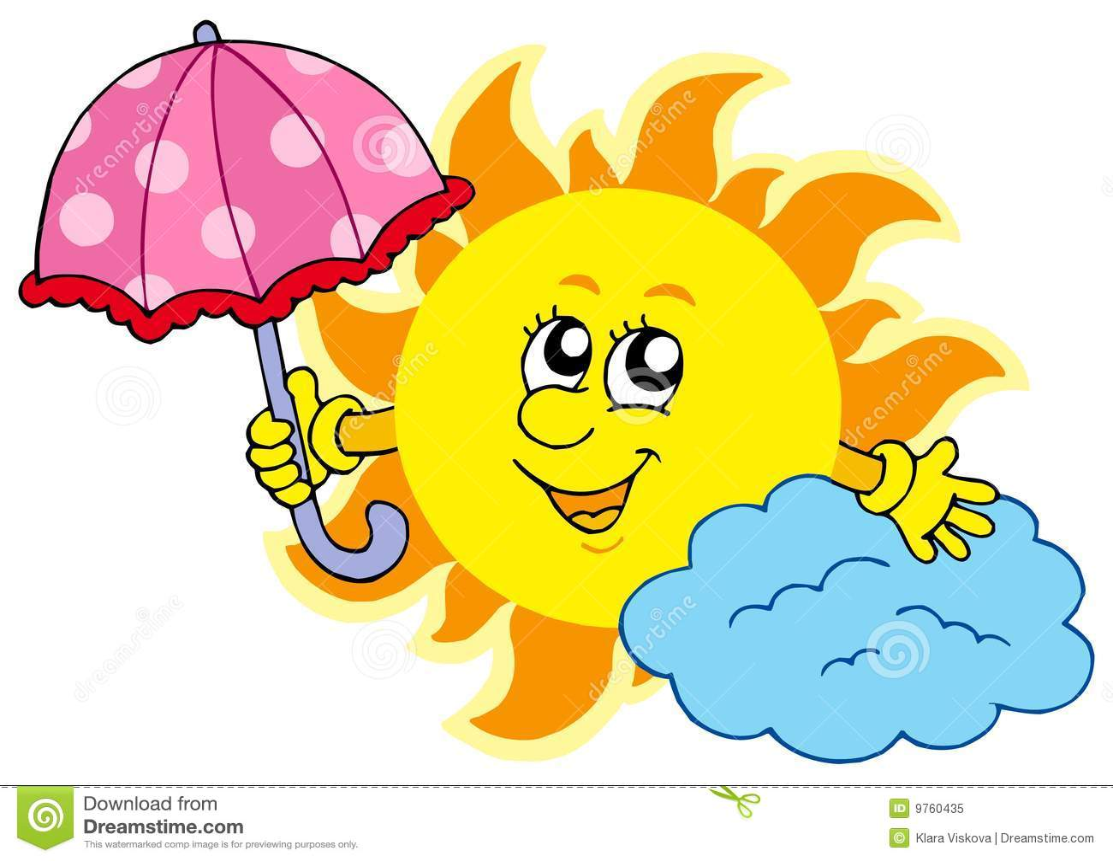 Cute Cartoon Sun With Umbrella Stock Vector - Illustration ...