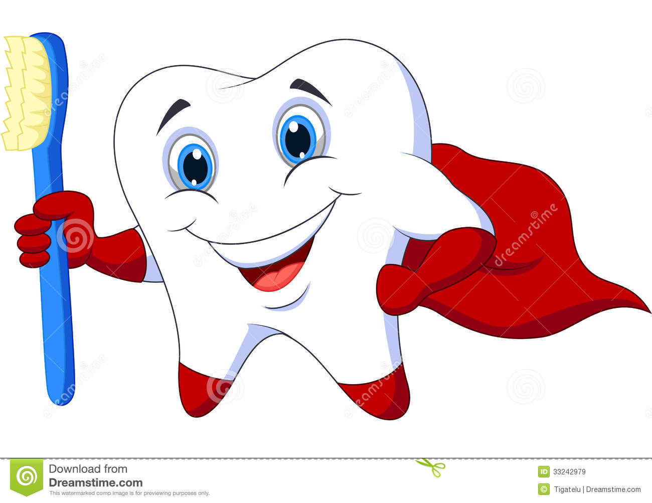 Cute Cartoon Superhero Tooth With Toothbrush Royalty Free Stock Images ...