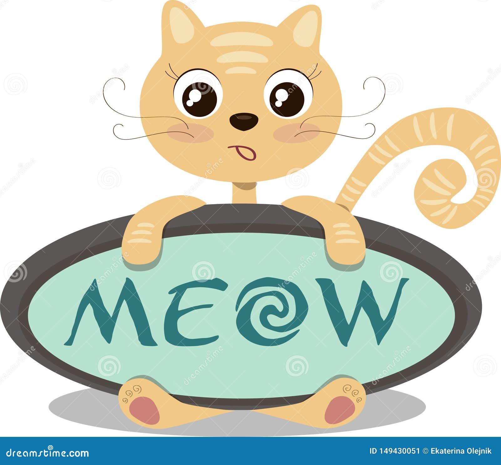 Cute cartoon surprised ginger cat