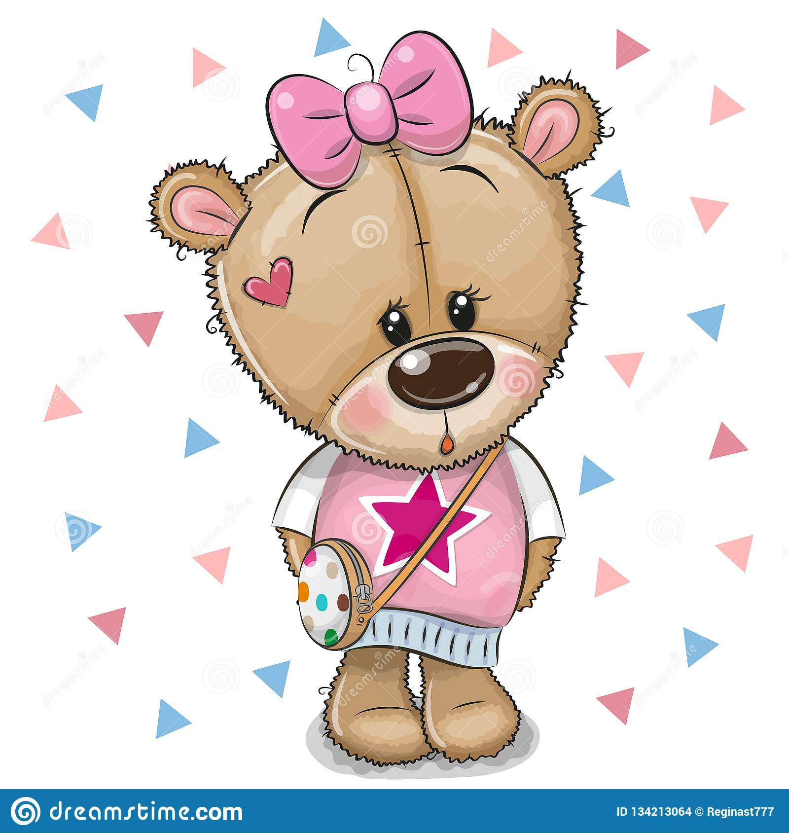 Cute Teddy Bear With A Bow On A White Background Stock ...
