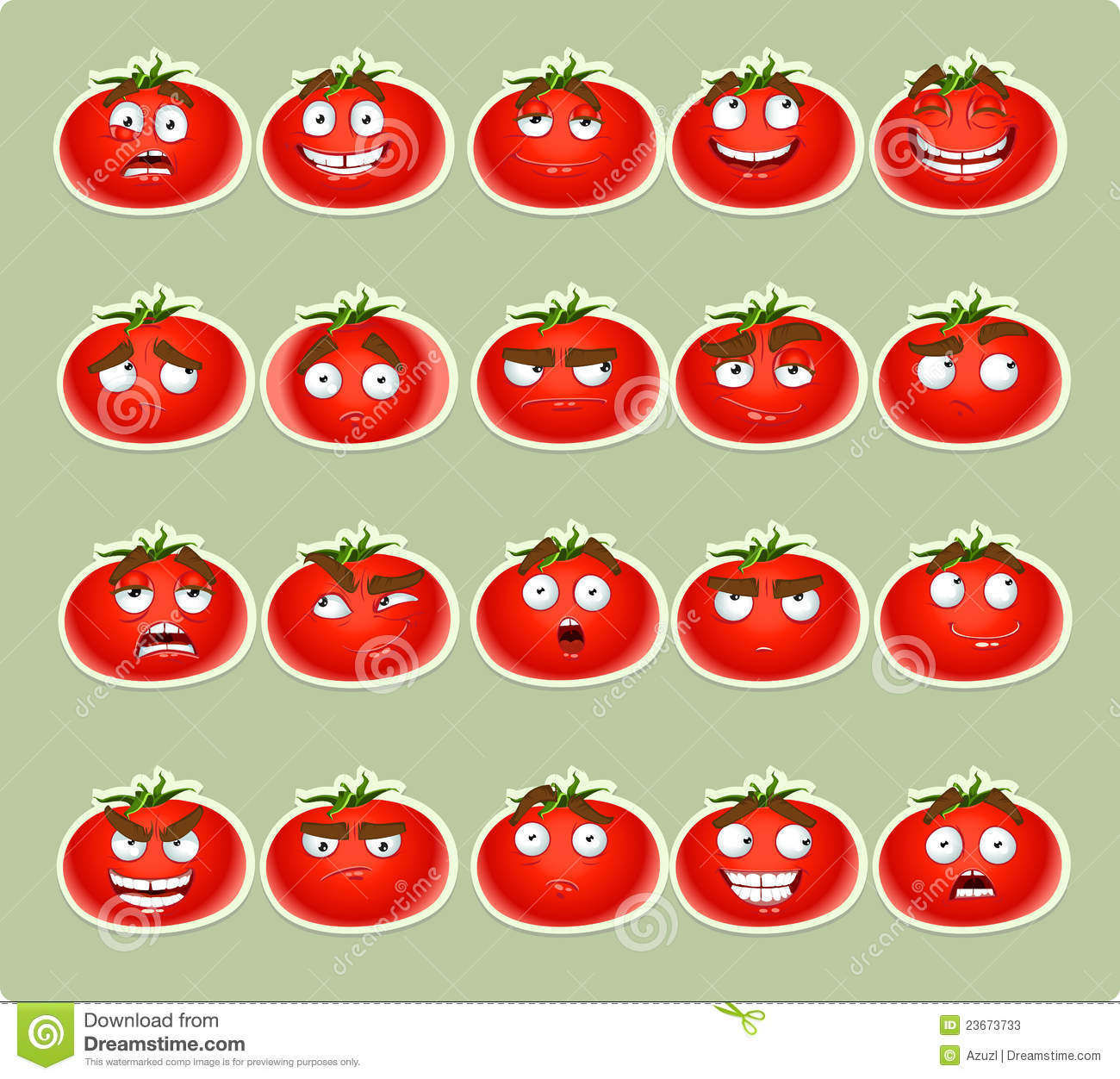 Cute Cartoon Tomato Smile With Many Expressions Ic Stock ...