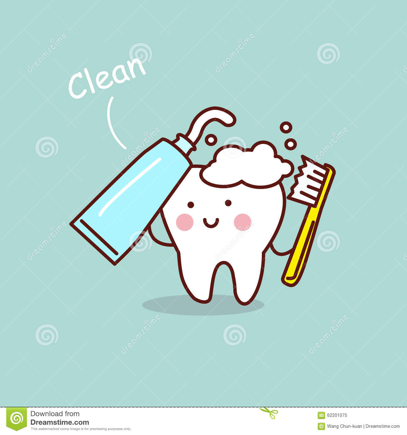 Cute Cartoon Tooth Brush Concept Stock Vector Image