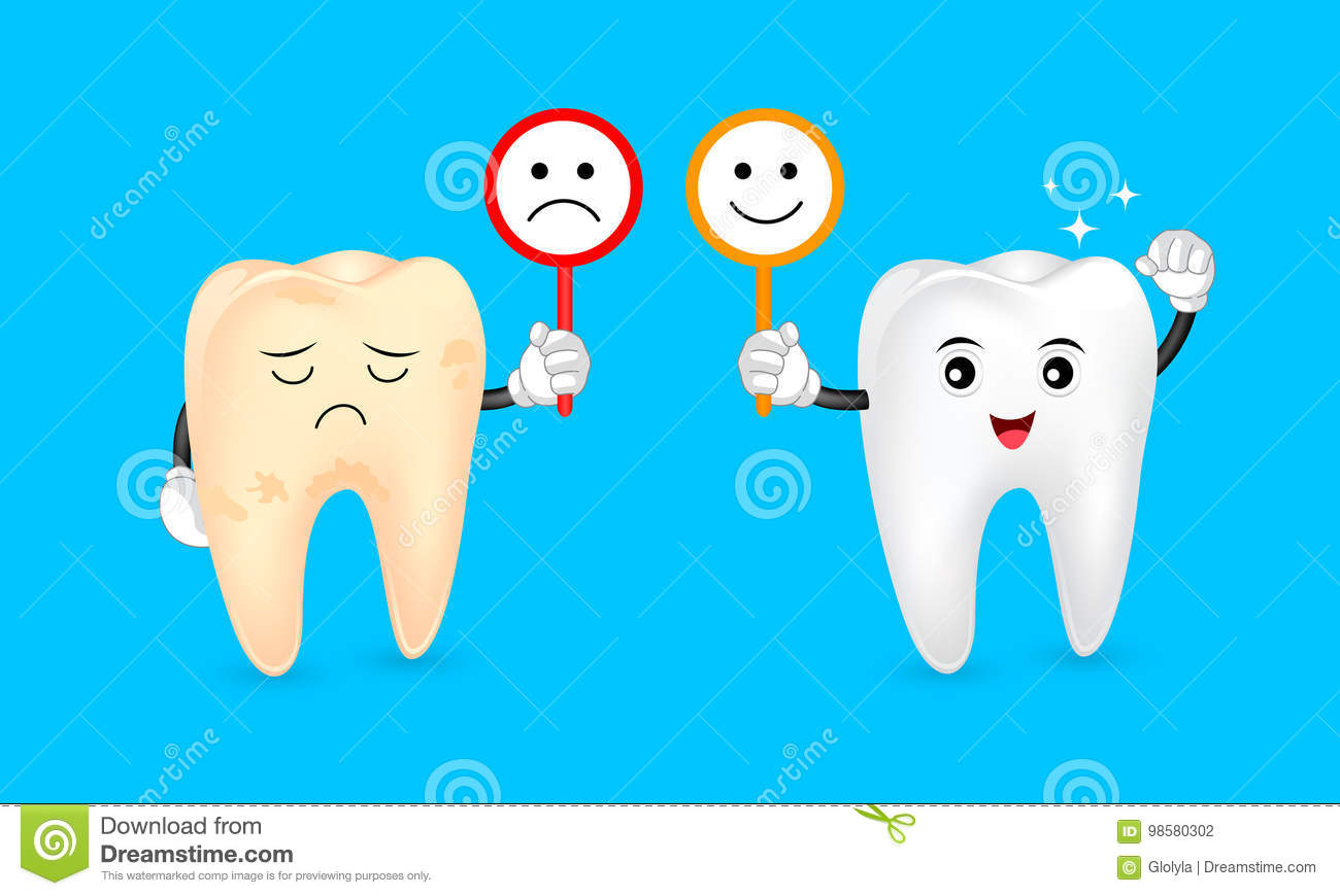 Cute Cartoon Tooth Character Holding Sign Of Emotional Face