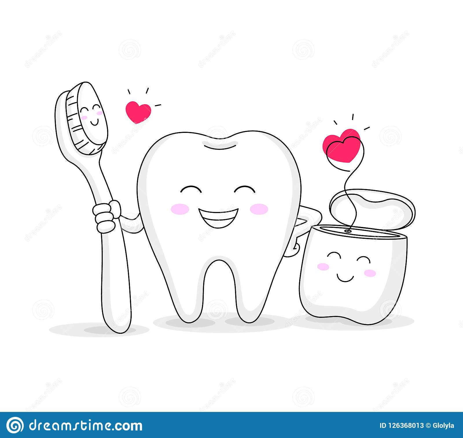 f0a4d7263 Royalty-Free Vector. Cute cartoon tooth character with toothbrush and dental  floss.