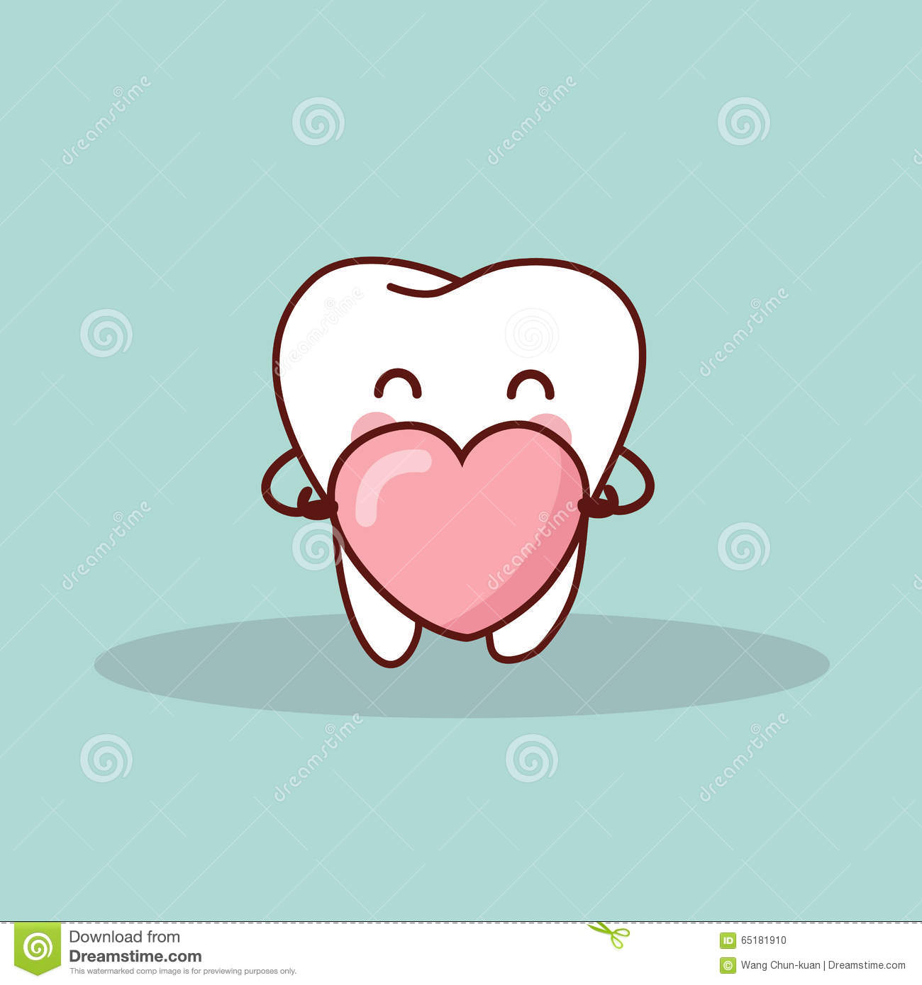 Cute Cartoon Tooth With Love Stock Vector - Image: 65181910