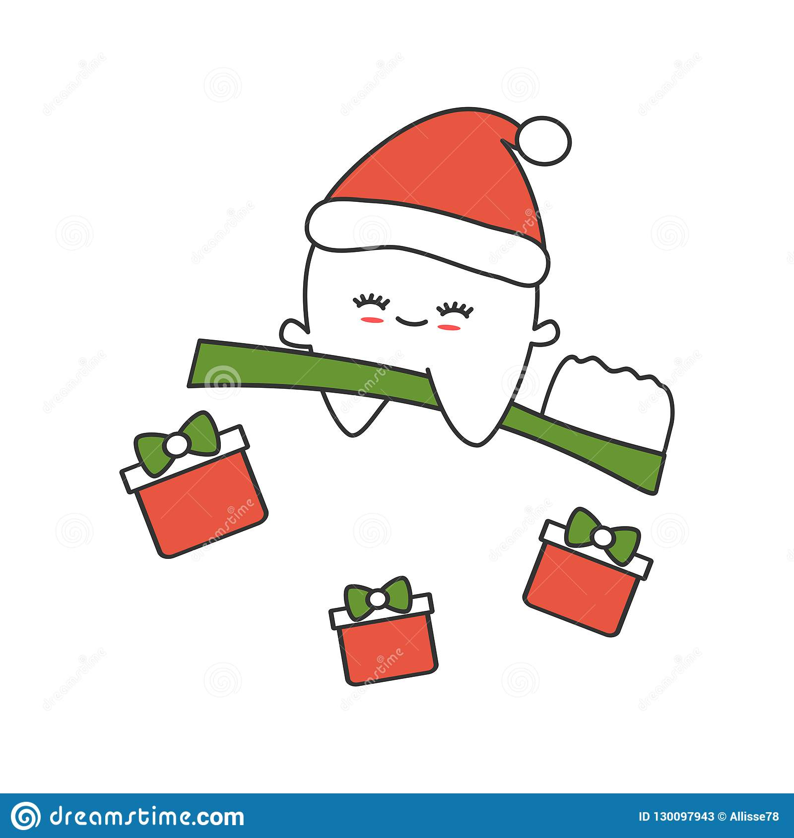 ca59d17df17eb Cute cartoon tooth with santa hat flying on toothbrush funny christmas  illustration