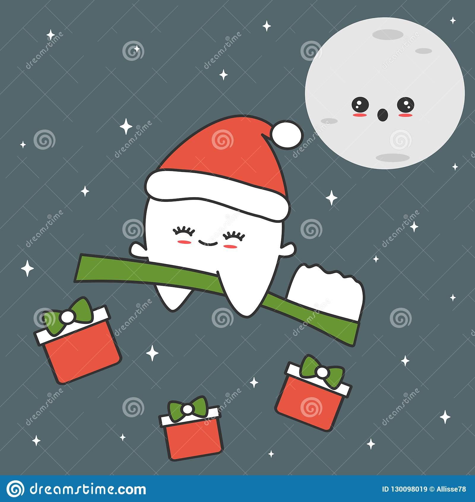 ee658c85924ac Cute cartoon tooth with santa hat flying on toothbrush in the starry night  funny christmas illustration