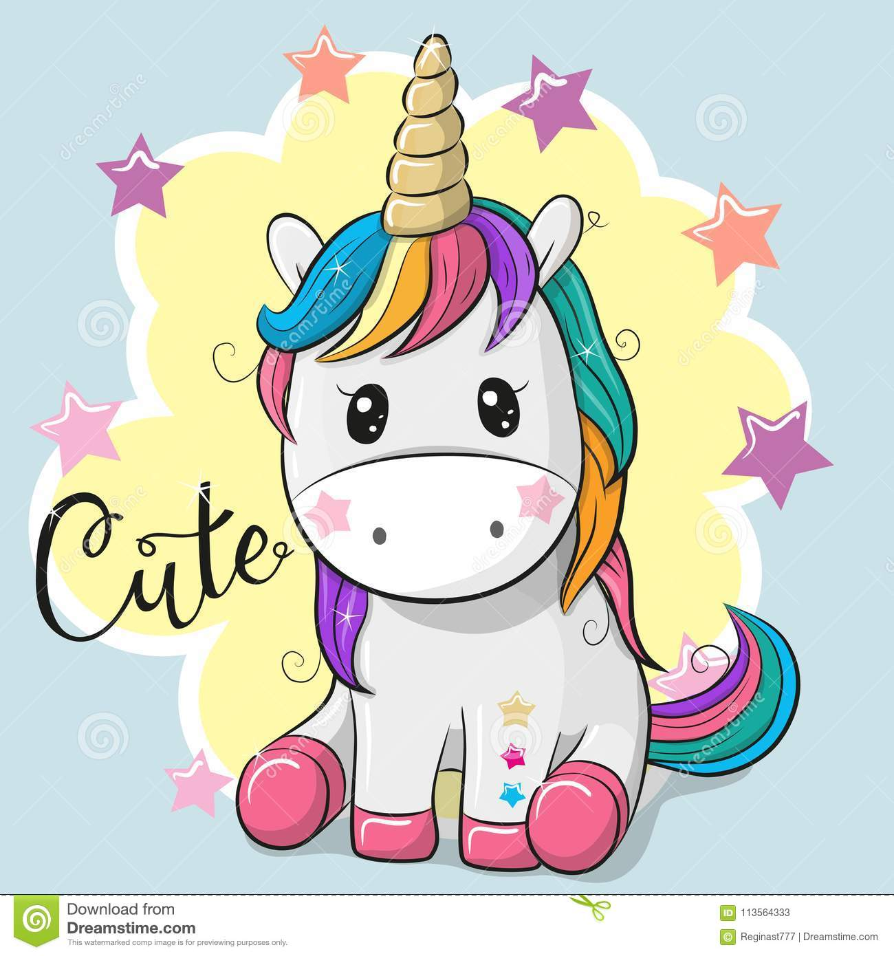 Cartoon Unicorn isolated on a gray background