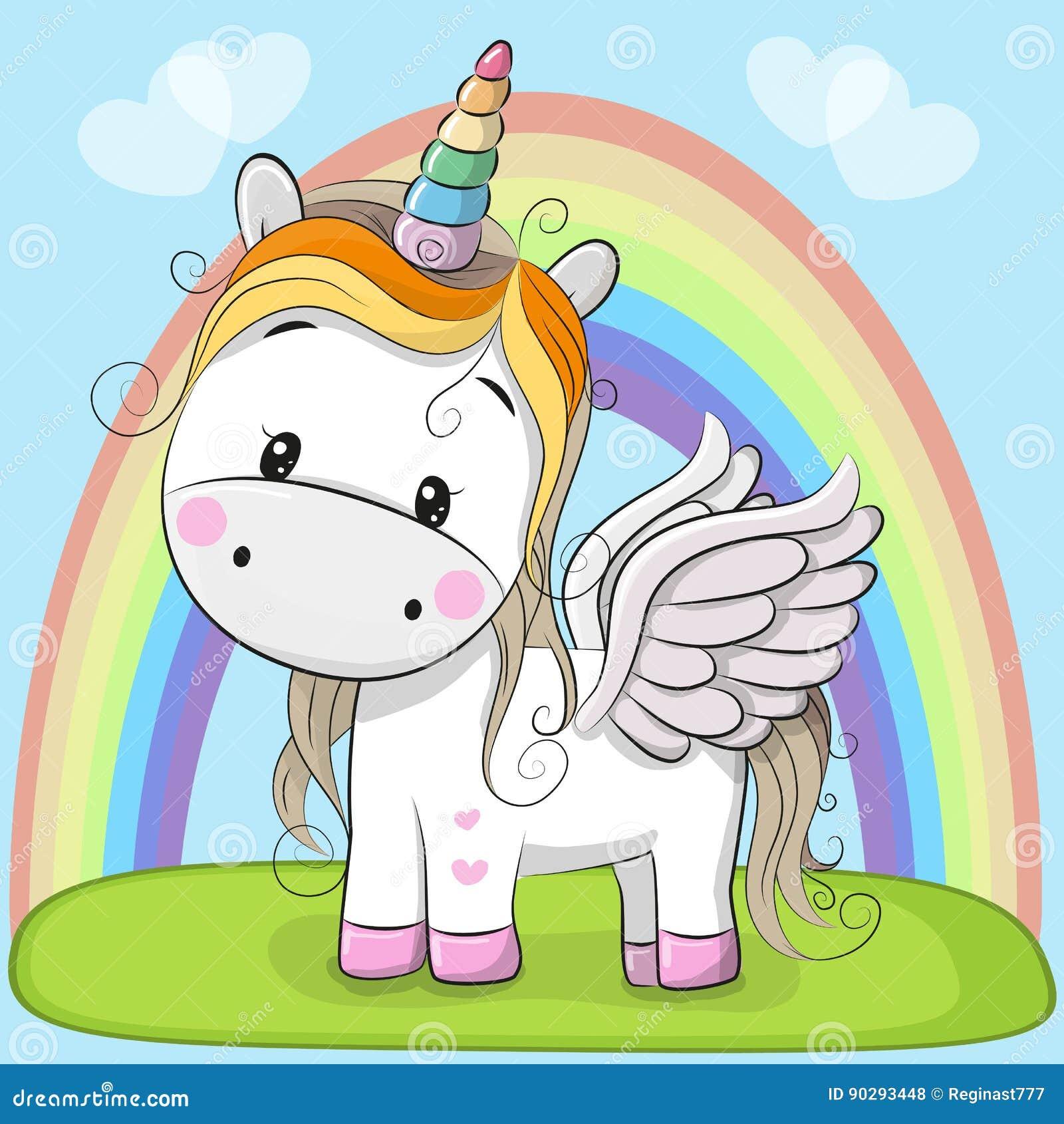 Cute Cartoon Unicorn on the meadow
