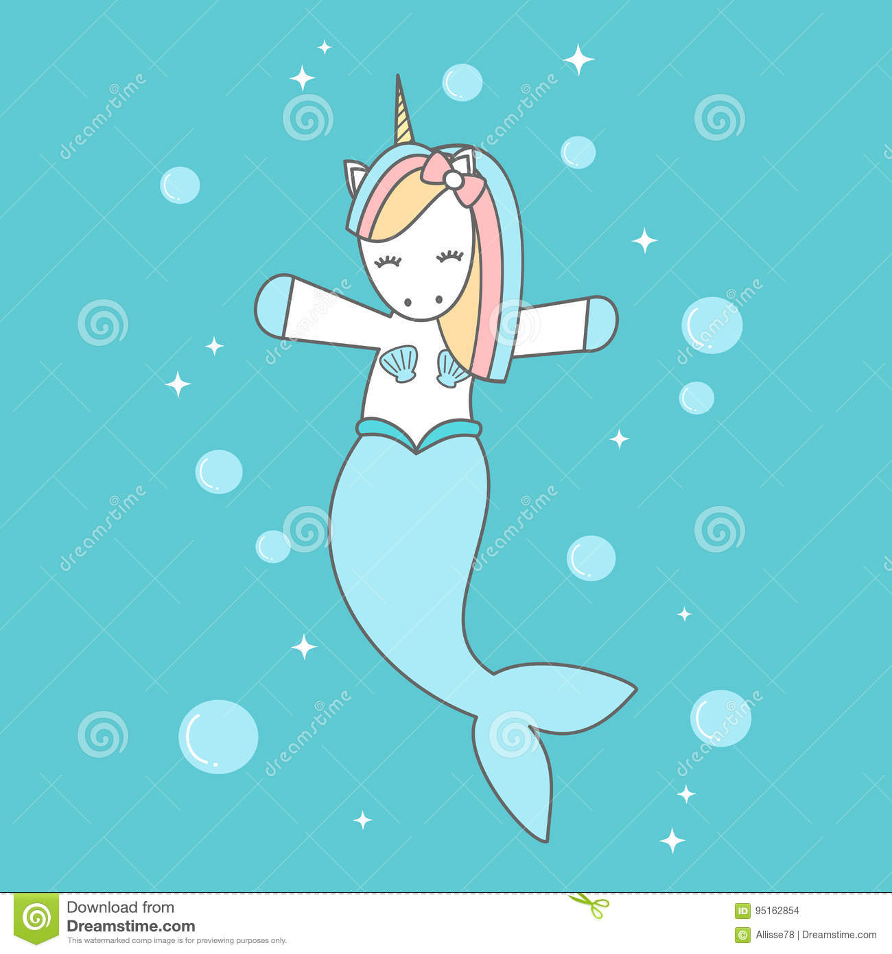 Cute Cartoon Unicorn Mermaid In The Sea Vector Illustration