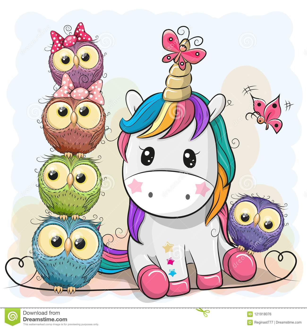 Cute Cartoon Unicorn And Owls Stock Vector Illustration Of