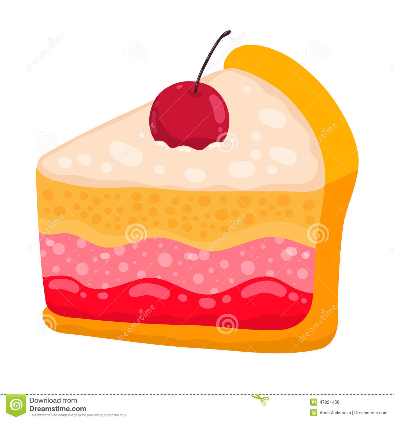 Cute Cartoon Vector Cake Piece Stock Vector - Image: 47921458