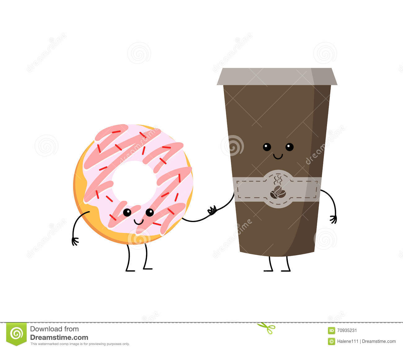 Cartoon Characters Holding Hands : Cute cartoon vector donut and coffee characters stock