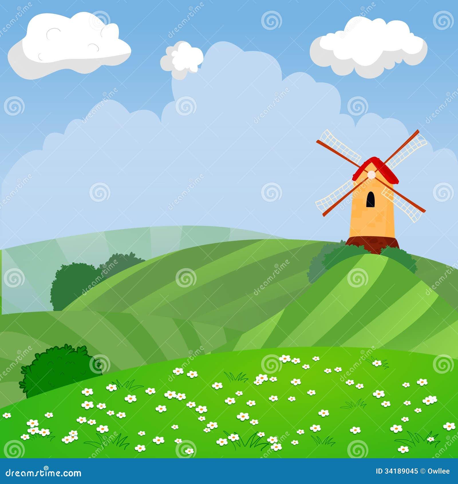 Cute Cartoon Vector Farm Landscape Royalty Free Stock