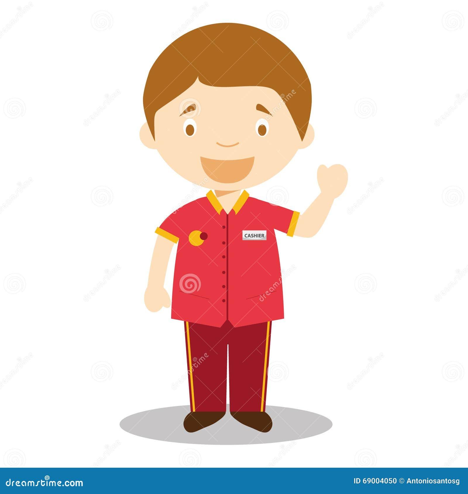 Cashier Cartoons: Cute Cartoon Vector Illustration Of A Clerk Or A Cashier