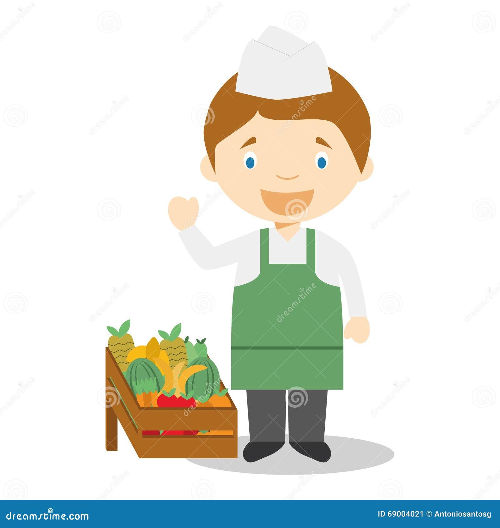 cute cartoon vector illustration of a fruit seller stock vector