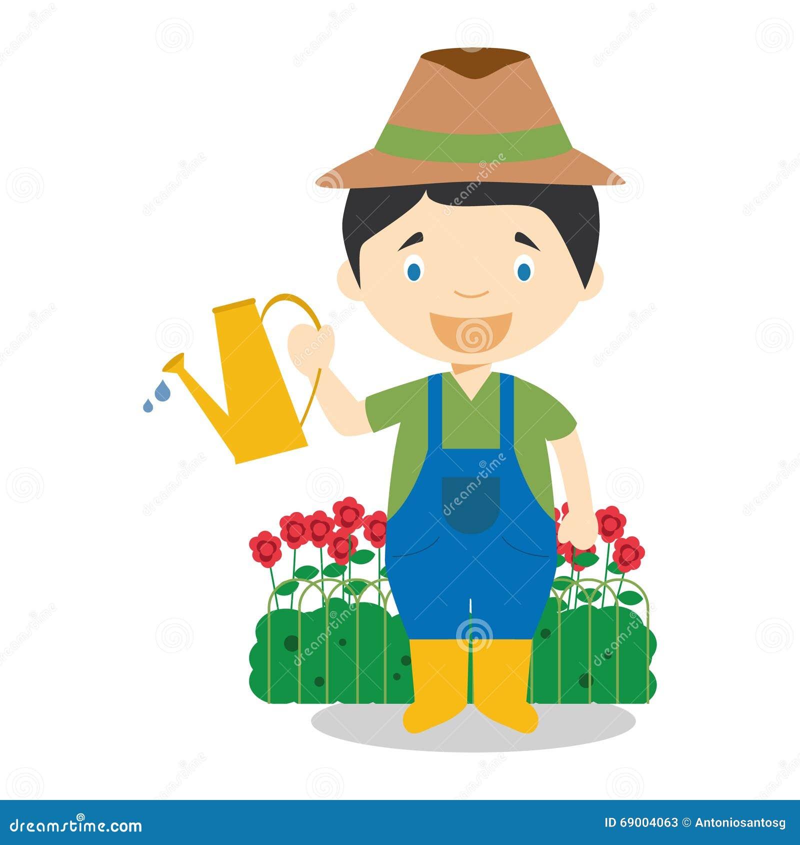 Cute Cartoon Vector Illustration Of A Gardener Stock ...