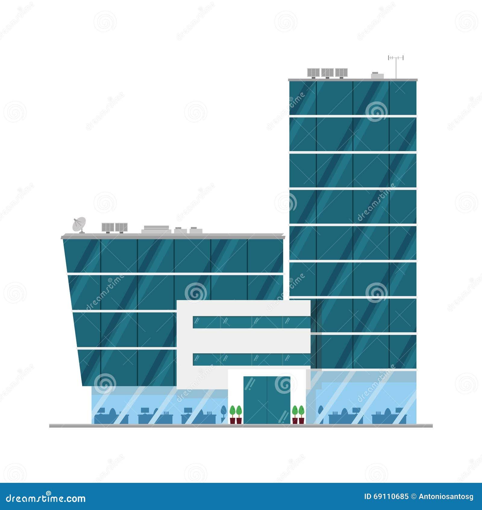 Cute Cartoon Vector Illustration Of An Office Building Stock Vector