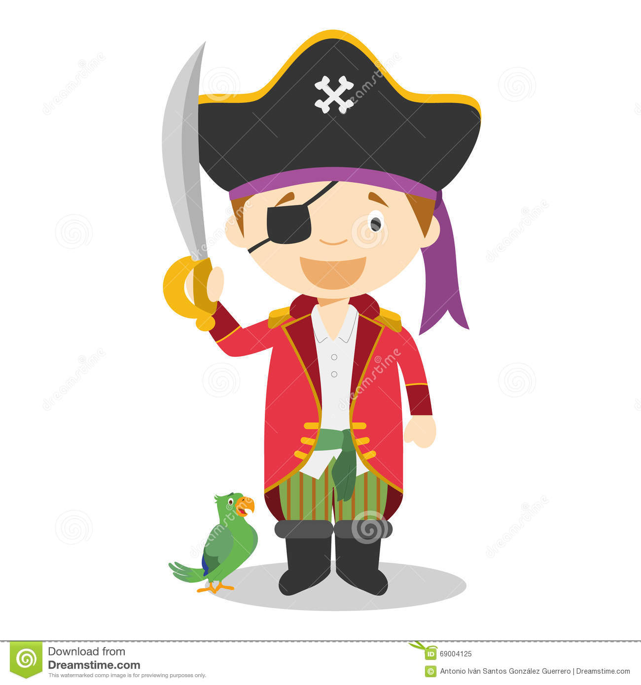 Cute Cartoon Vector Illustration Of A Pirate Stock Vector ...